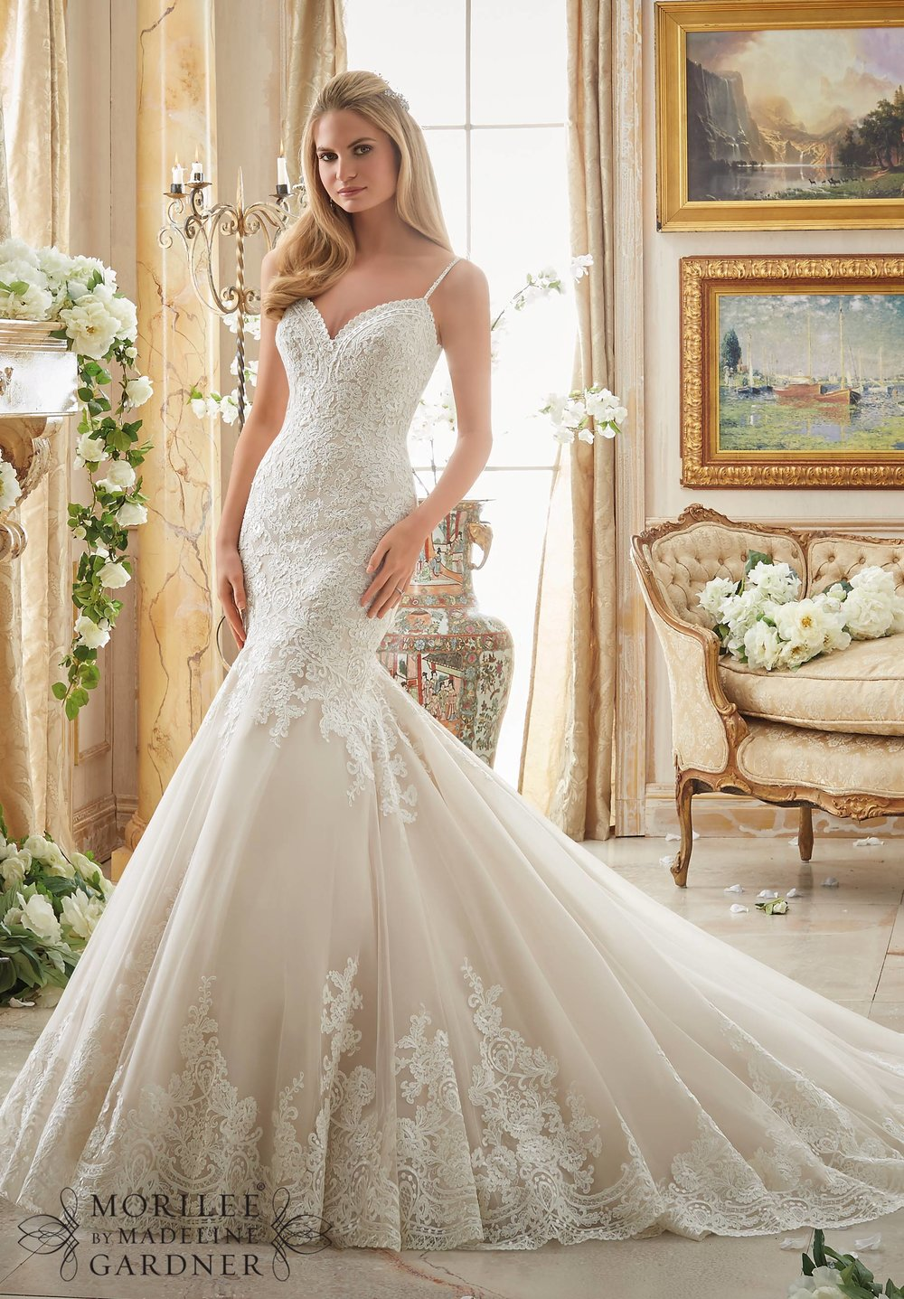 Romantic lace Mori Lee Bridal wedding dress