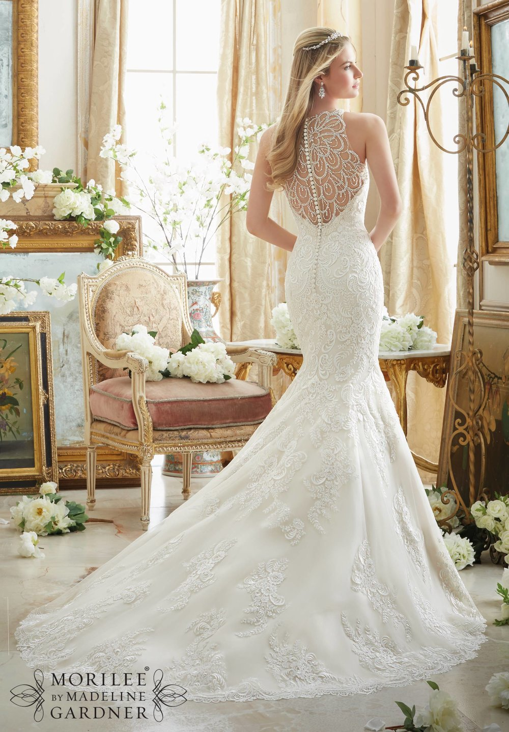 Embellished Illusion Mori Lee wedding dress