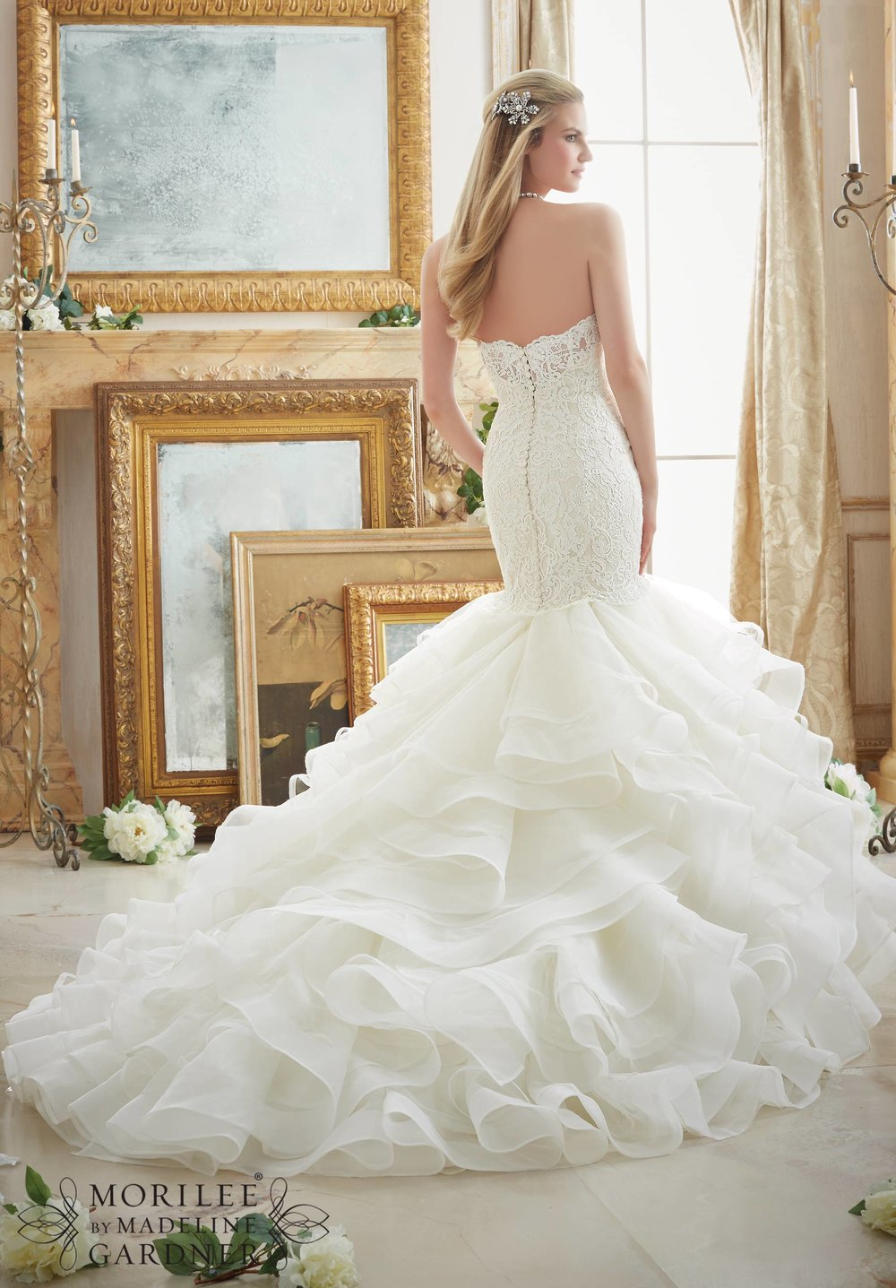 Alencon lace tulle and Organza mermaid wedding dress