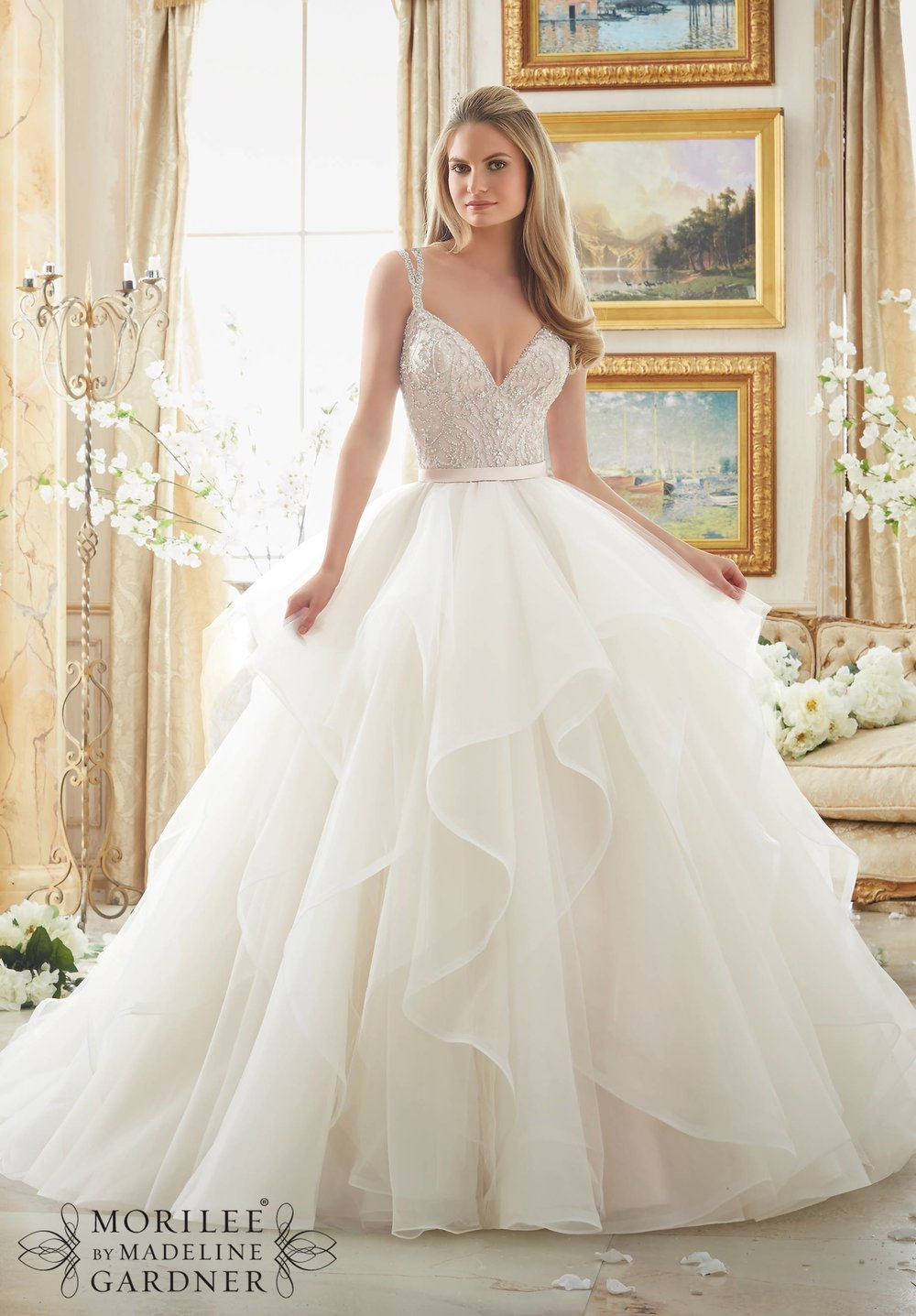 Beaded bodice organza ballgown wedding dress