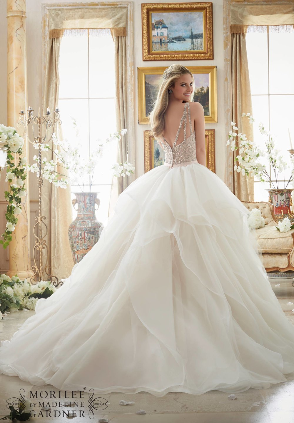 Mori Lee ballgown wedding dress with straps