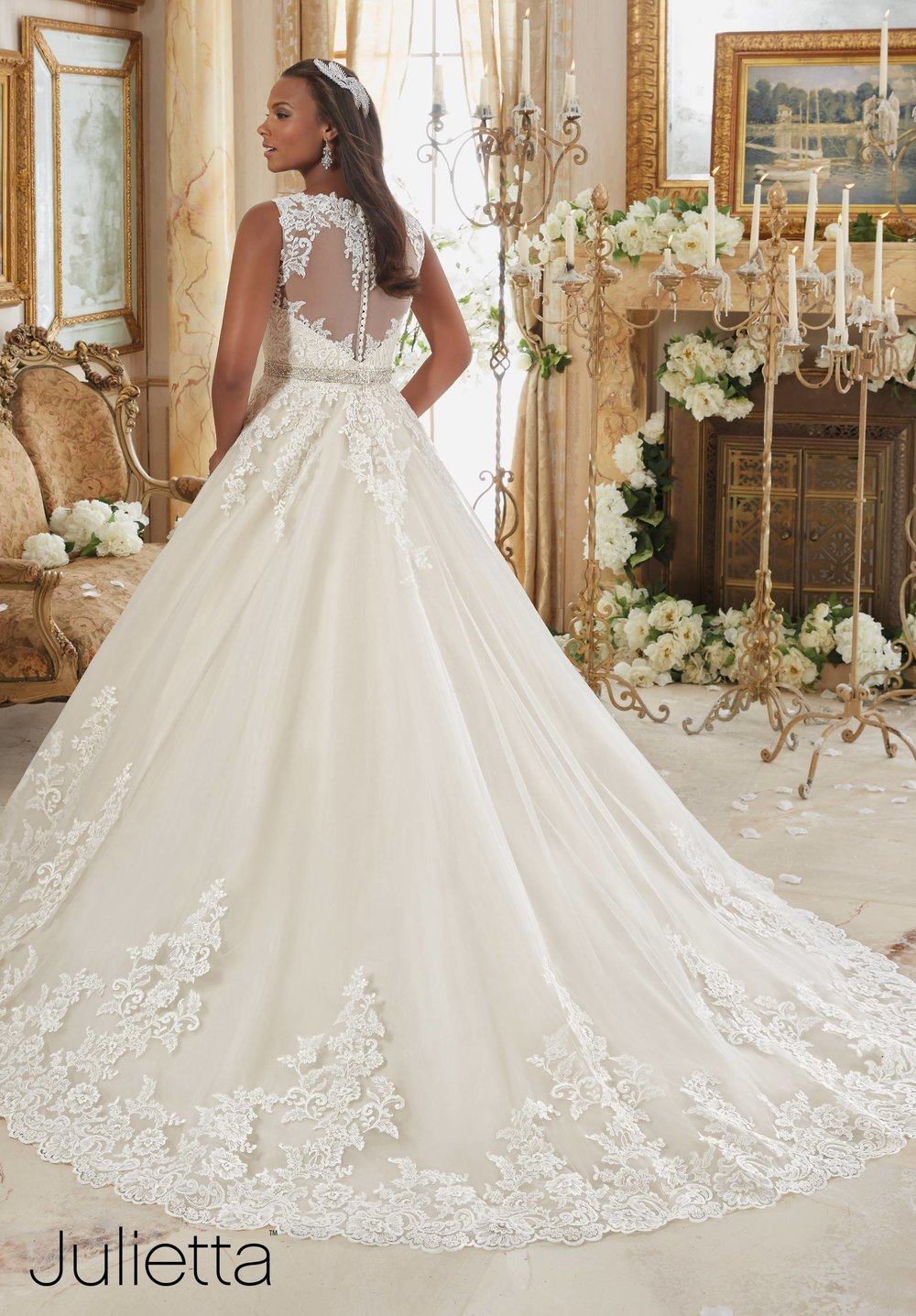 Mori Lee Illusion back plus size bridal gown