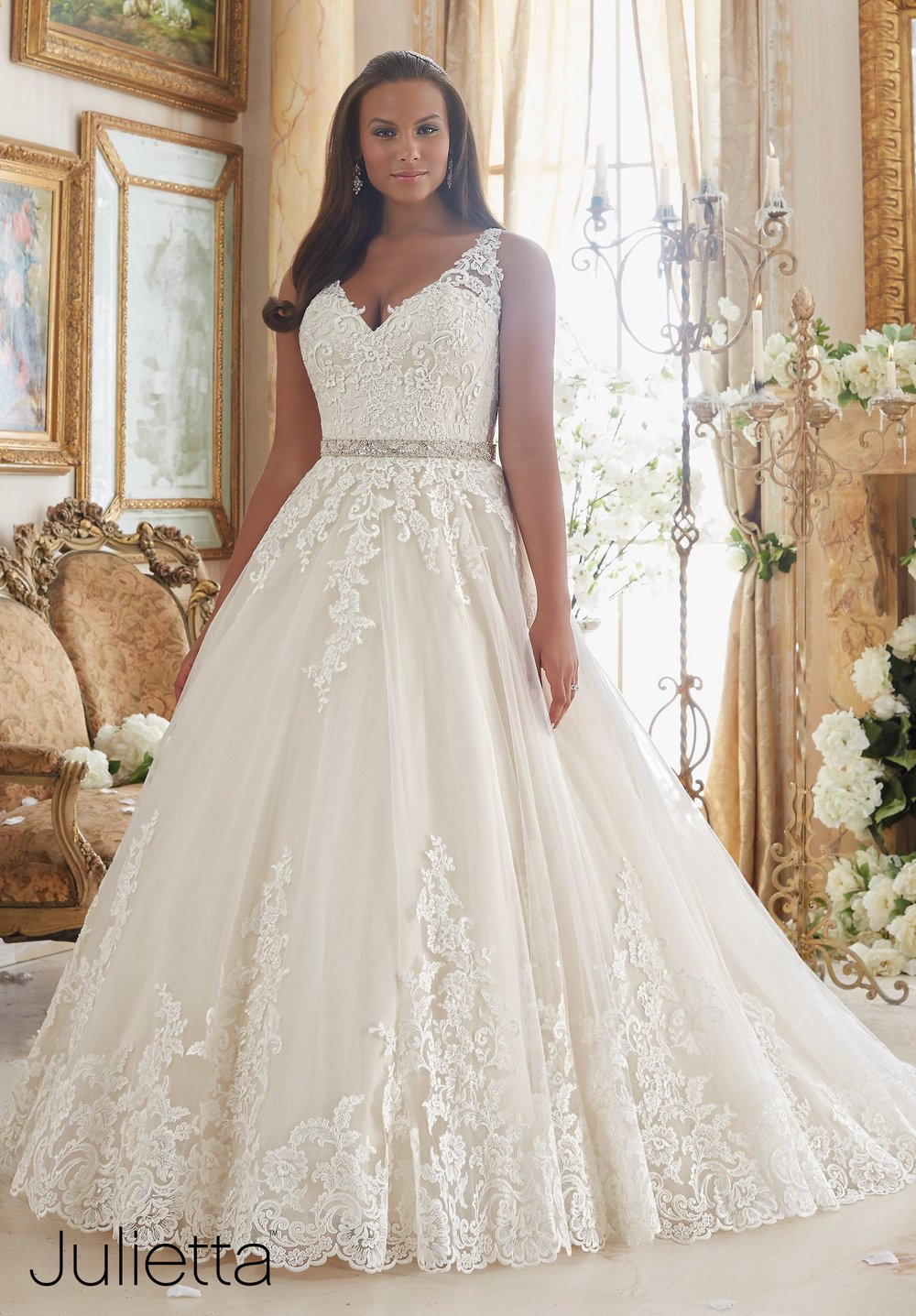 Lace applique on tulle plus size Mori Lee ballgown wedding dress