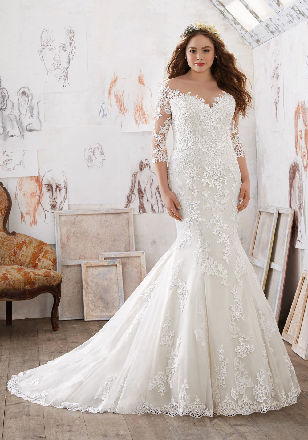 Mori Lee plus size wedding dress