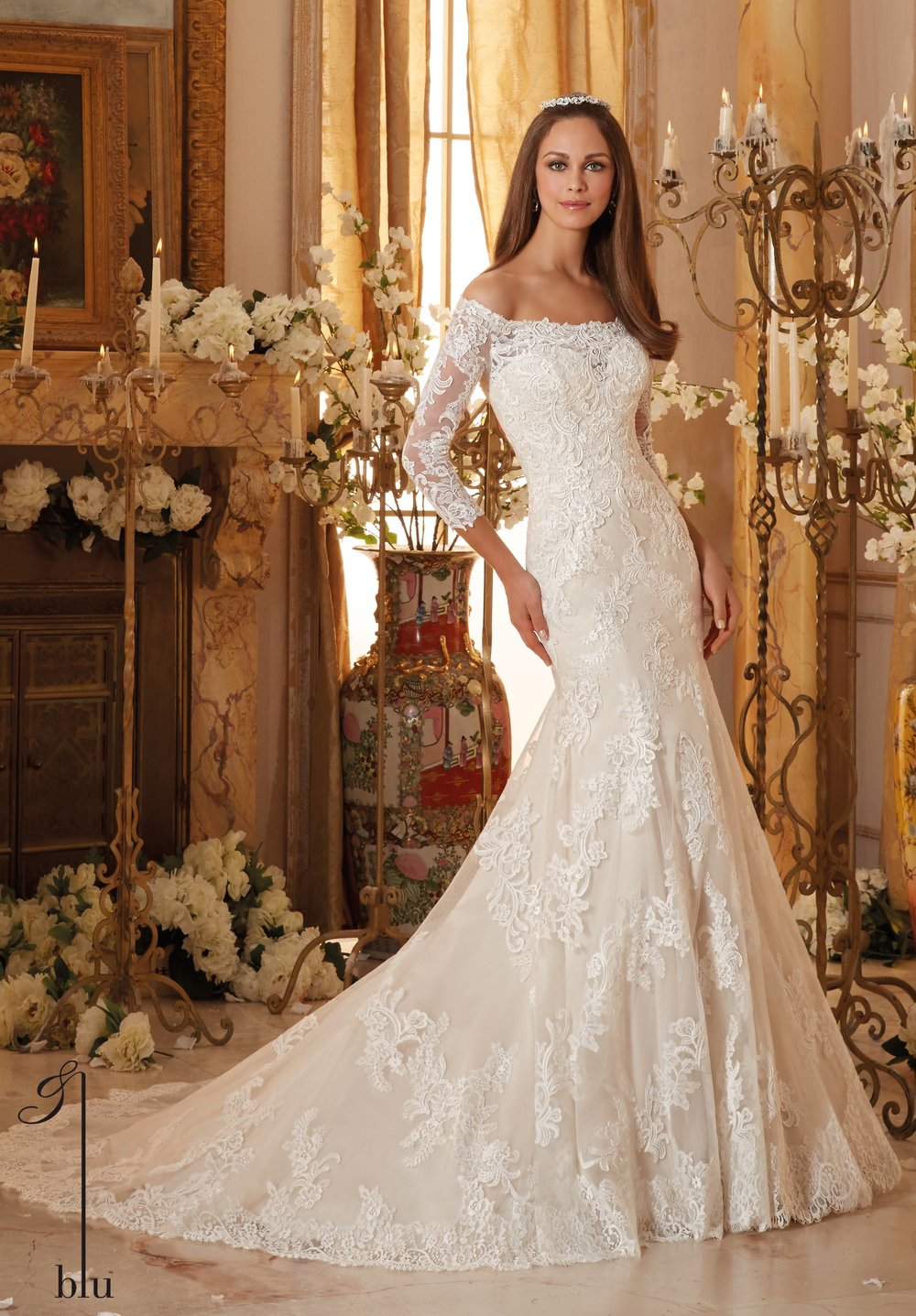 Off-shoulder 3/4 sleeves wedding dress