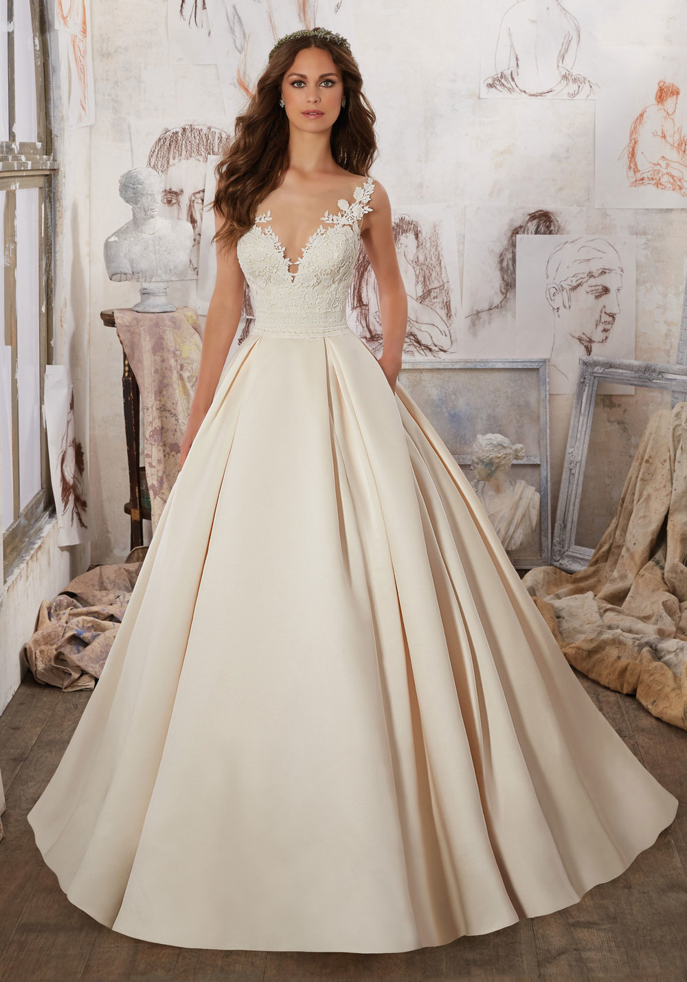 Cap sleeves A-Line satin wedding dress