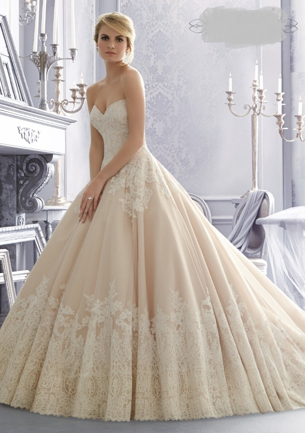 Sweetheart tulle lace Mori Lee wedding dress