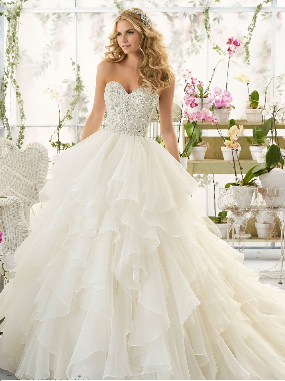 Crystal beaded bodice layered organza wedding dress
