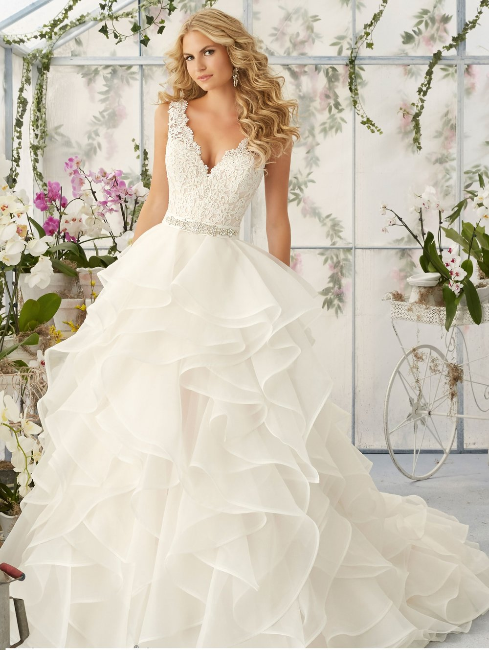 V-neck A-line organza wedding dress with straps
