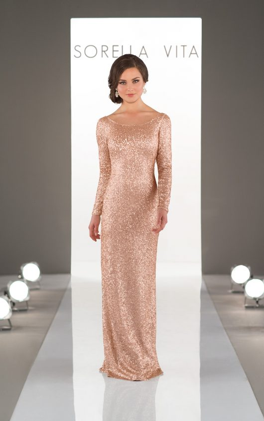 Long Sleeves Gold Sequin Bridesmaids Dress