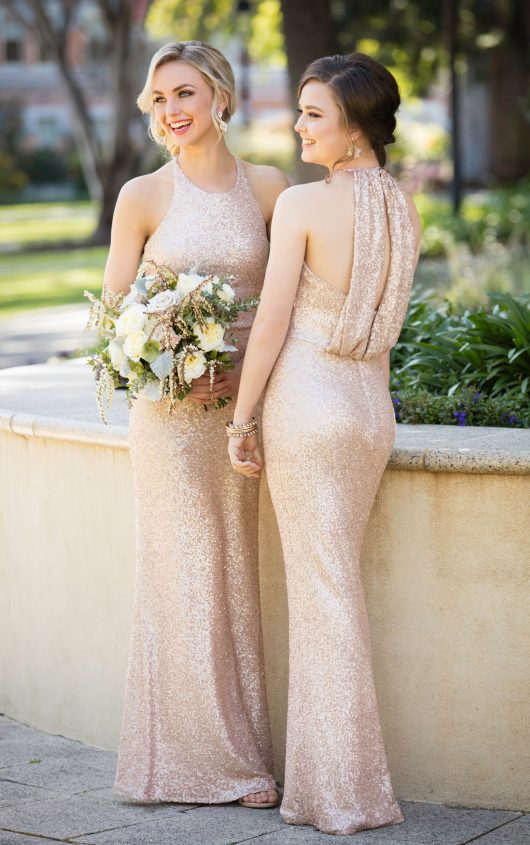 High-neck sequin bridesmaids dress