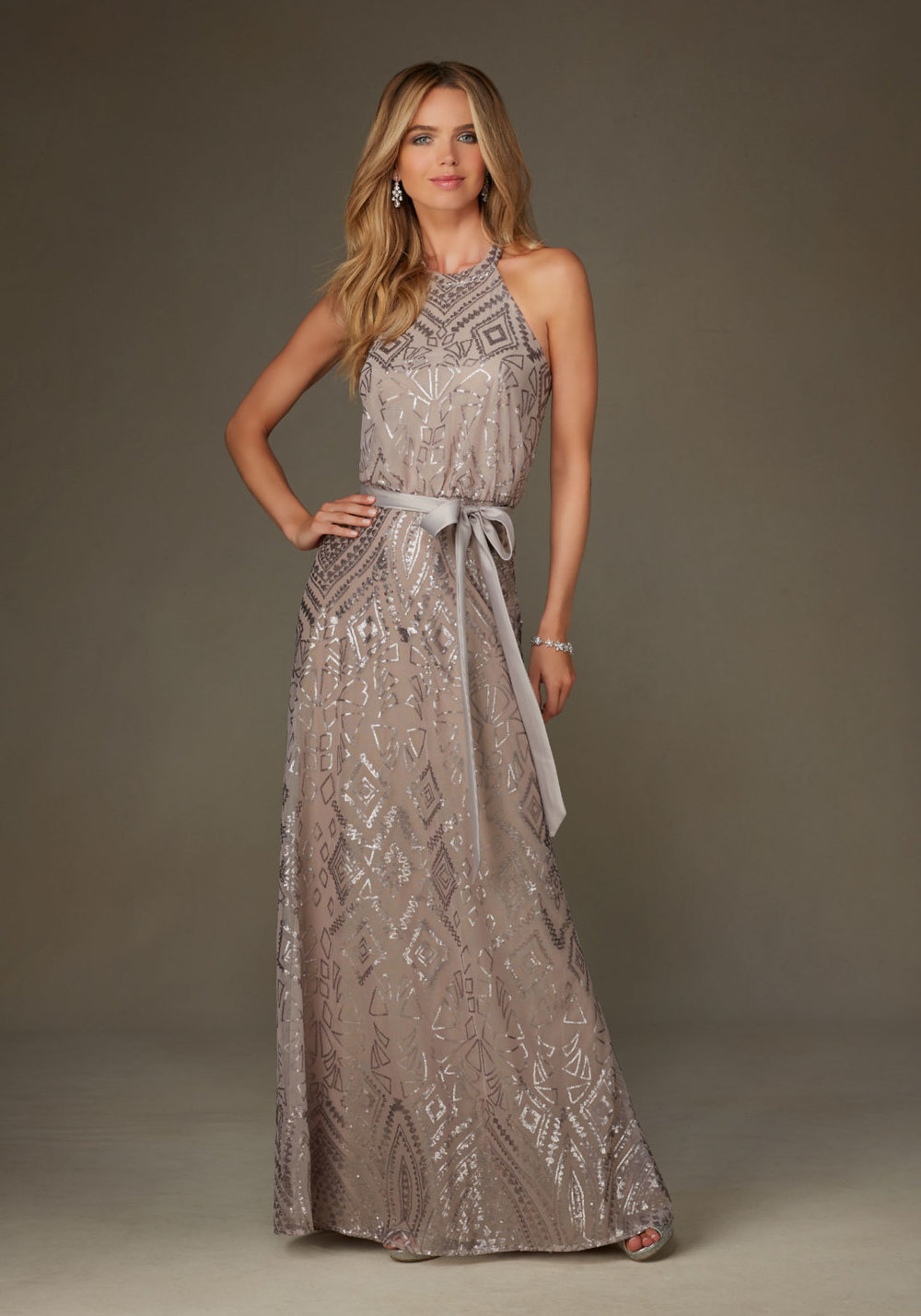 Patterned Sequins on Mesh Bridesmaid Dress