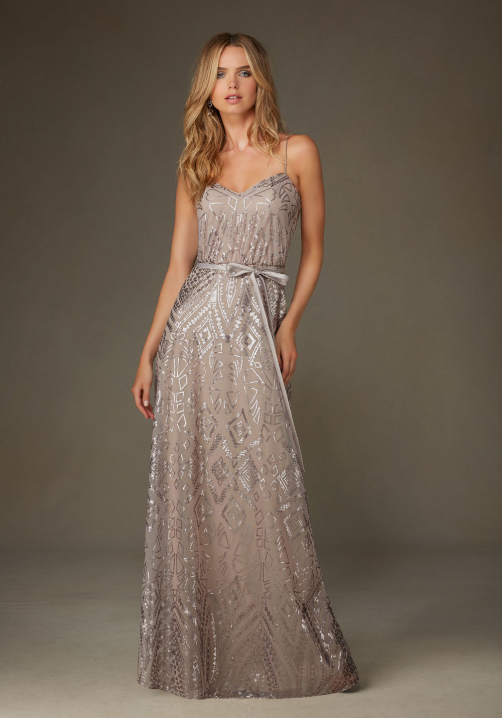 Pattern Sequin Mori Lee Bridesmaid dress