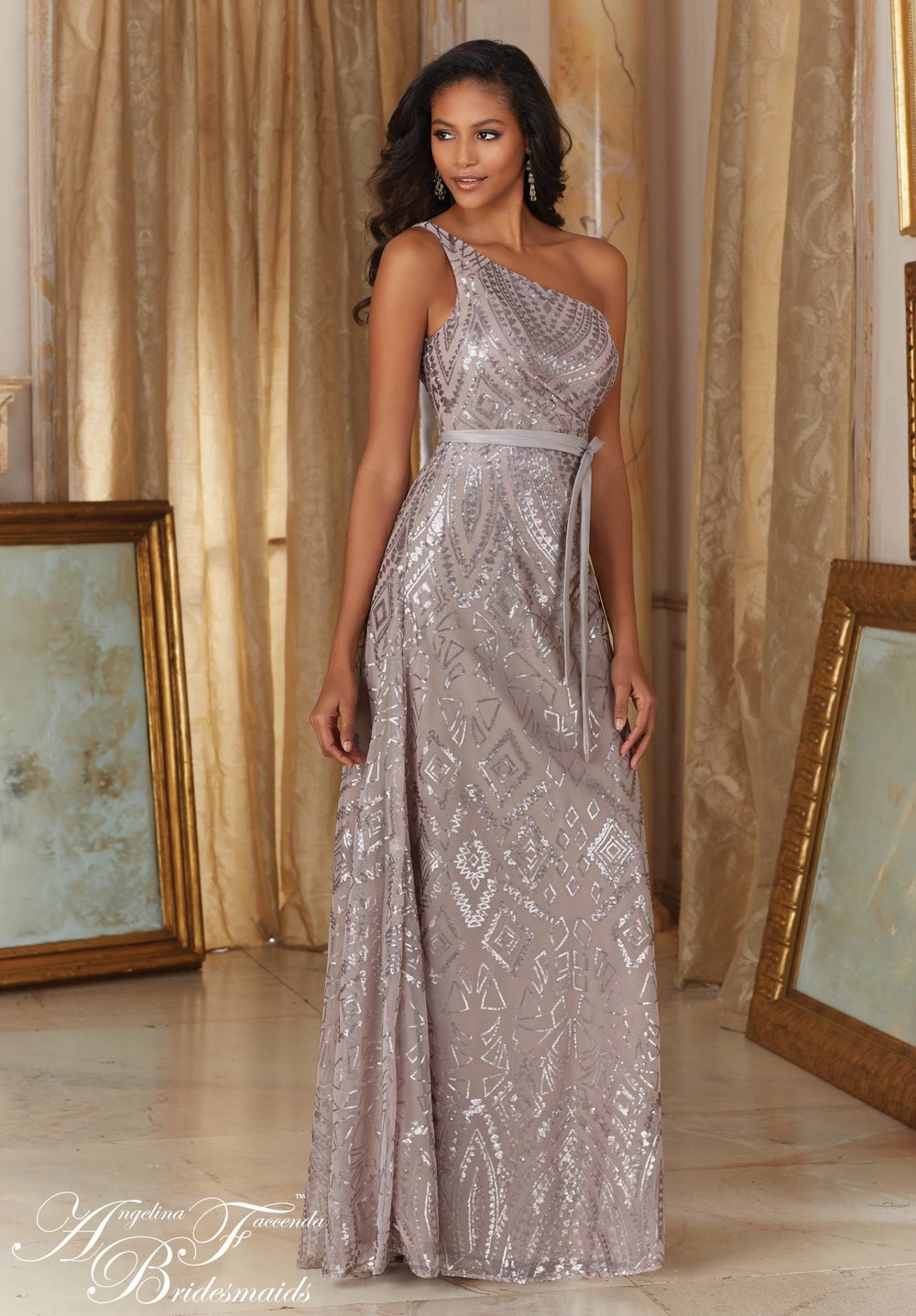 One Strap Sequin Bridesmaids Dress