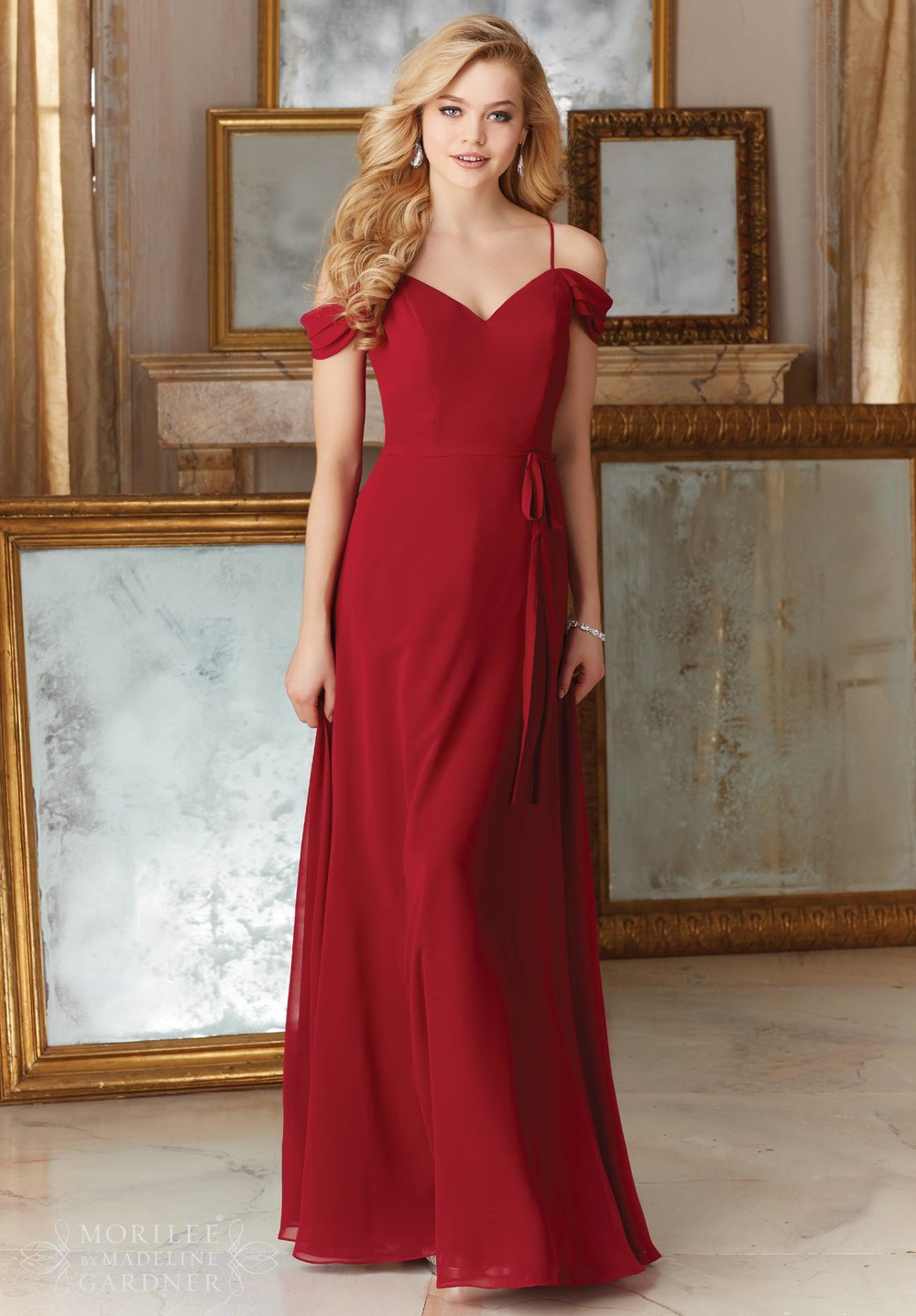 Off Shoulder Cap Sleeves Bridesmaids Dress