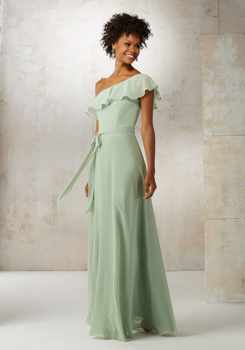 Boho One Shoulder Chiffon Bridesmaids dress