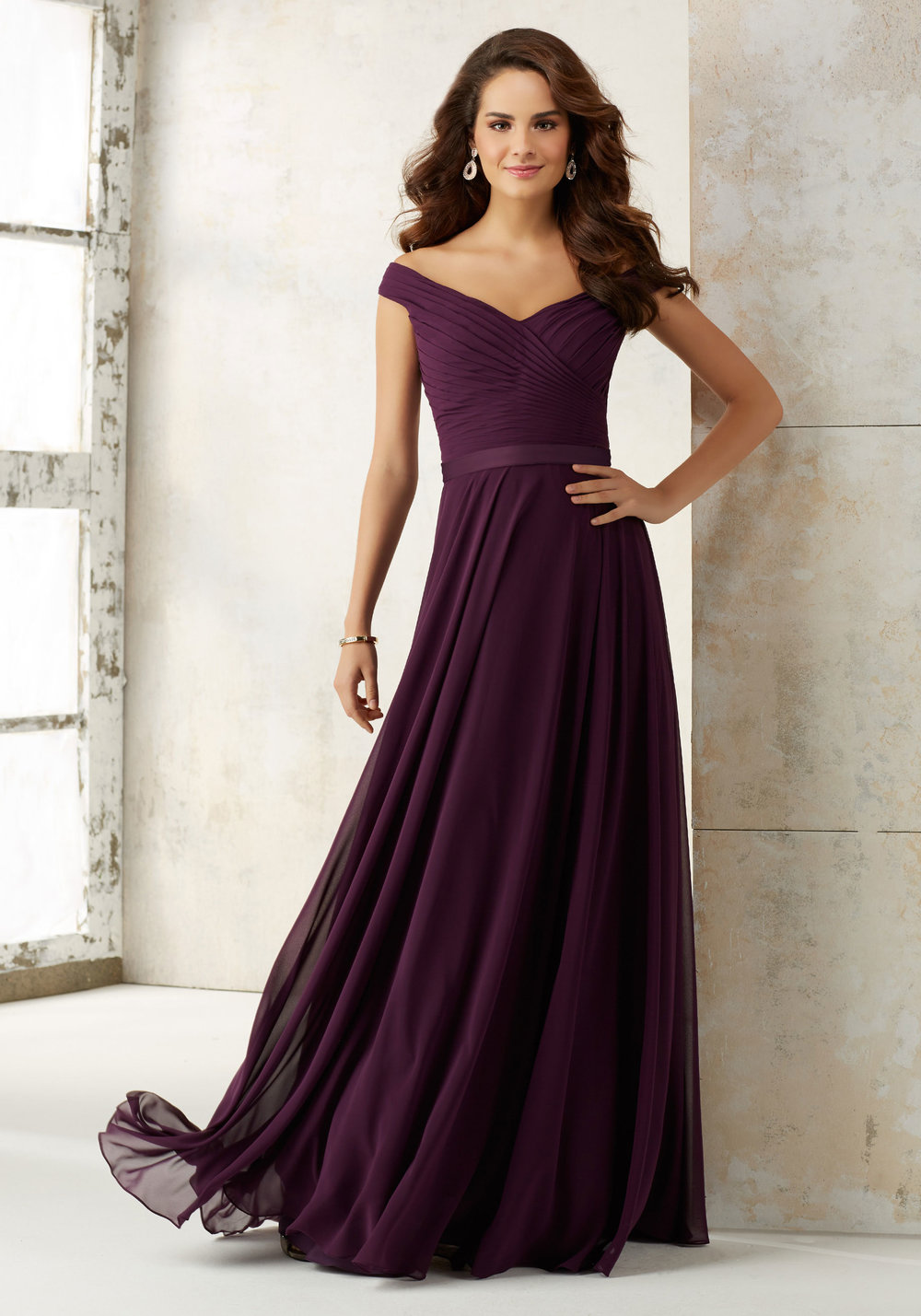Mori Lee Off the shoulder Chiffon Bridesmaids dress
