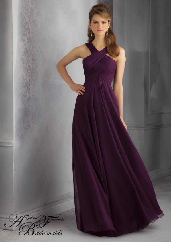 Crossed Neckline Chiffon Bridesmaids Dress