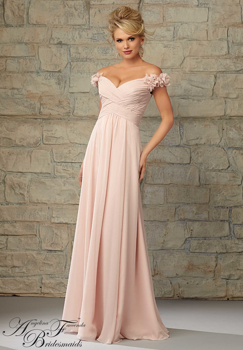 Ruffled Off the Shoulder Chiffon Bridesmaids Dress