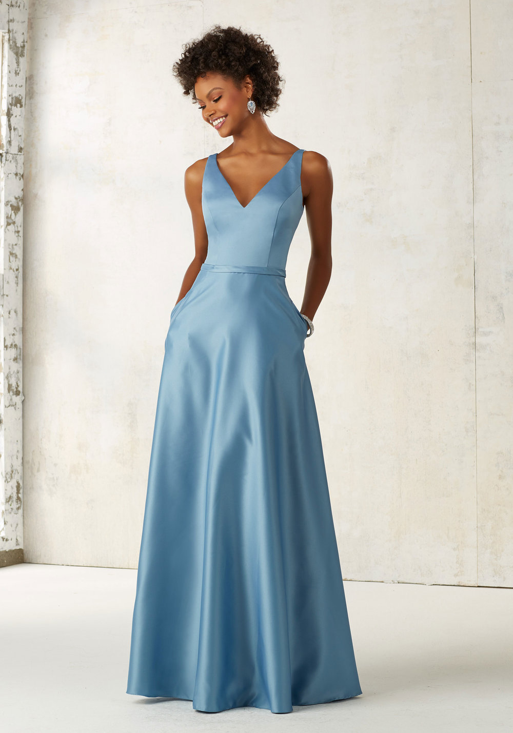 Satin V-Neck Bridesmaids Dress with pockets