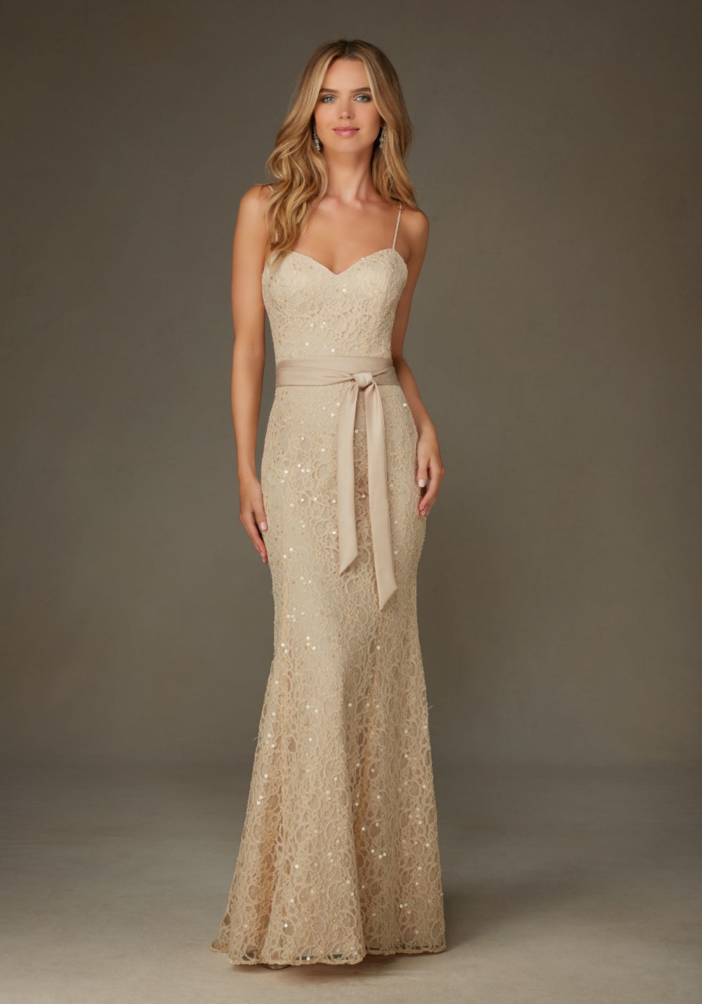 Elegant Beaded Lace Mori Lee Bridesmaids Dress