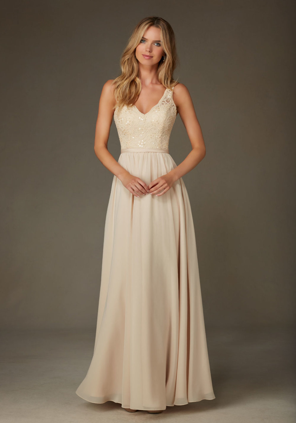 Beaded lace chiffon Mori Lee Bridesmaids Dress