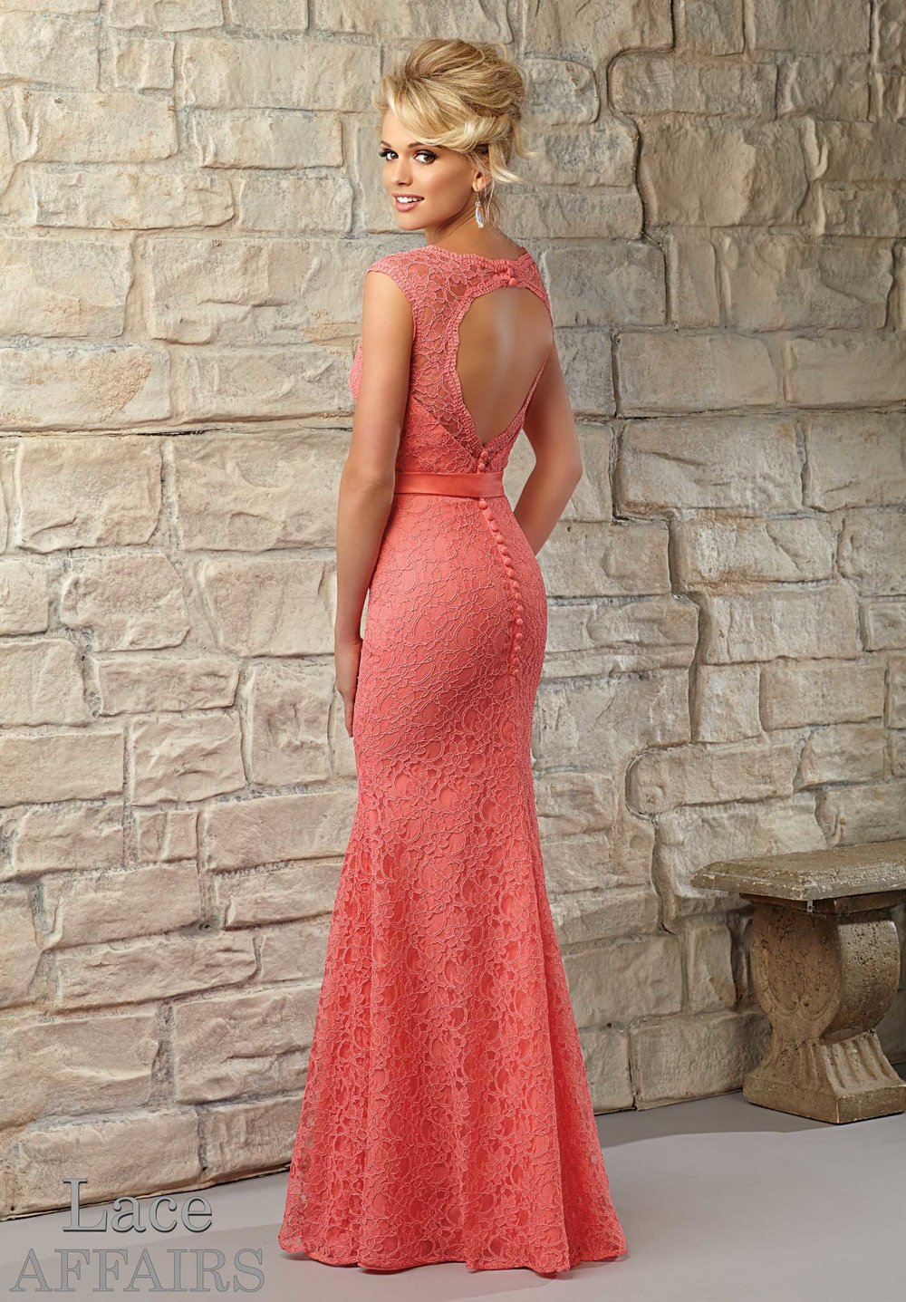 Keyhole Romantic Lace Bridesmaids Dress