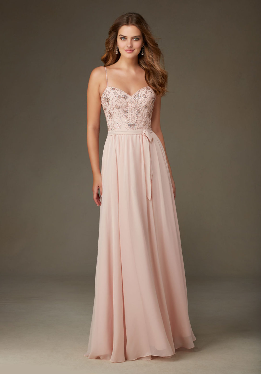 Chiffon with Beading Spaghetti Bridesmaid Dress