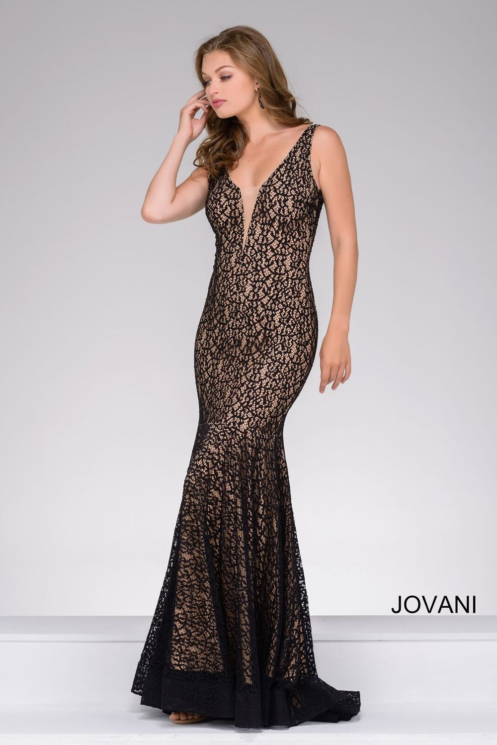 Black Lace Fitted Prom Dress