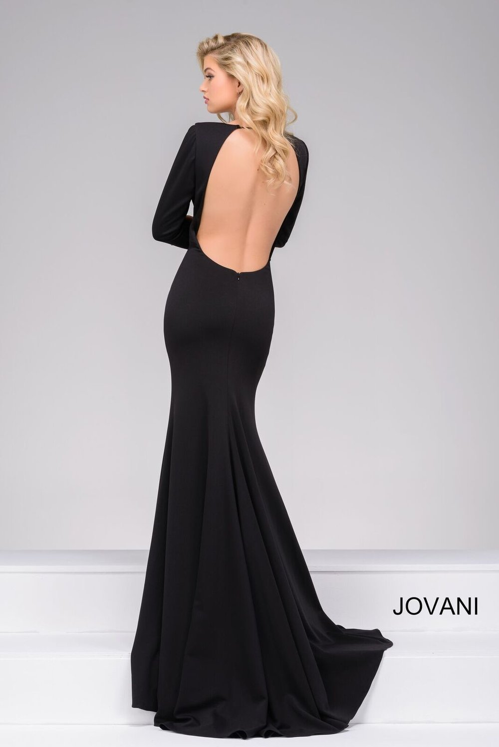 Black jersey fitted prom dress