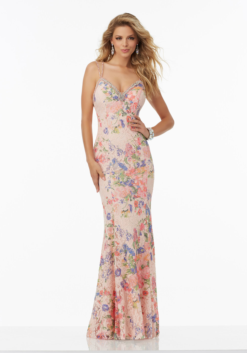 Floral Printed Lace Prom Dress