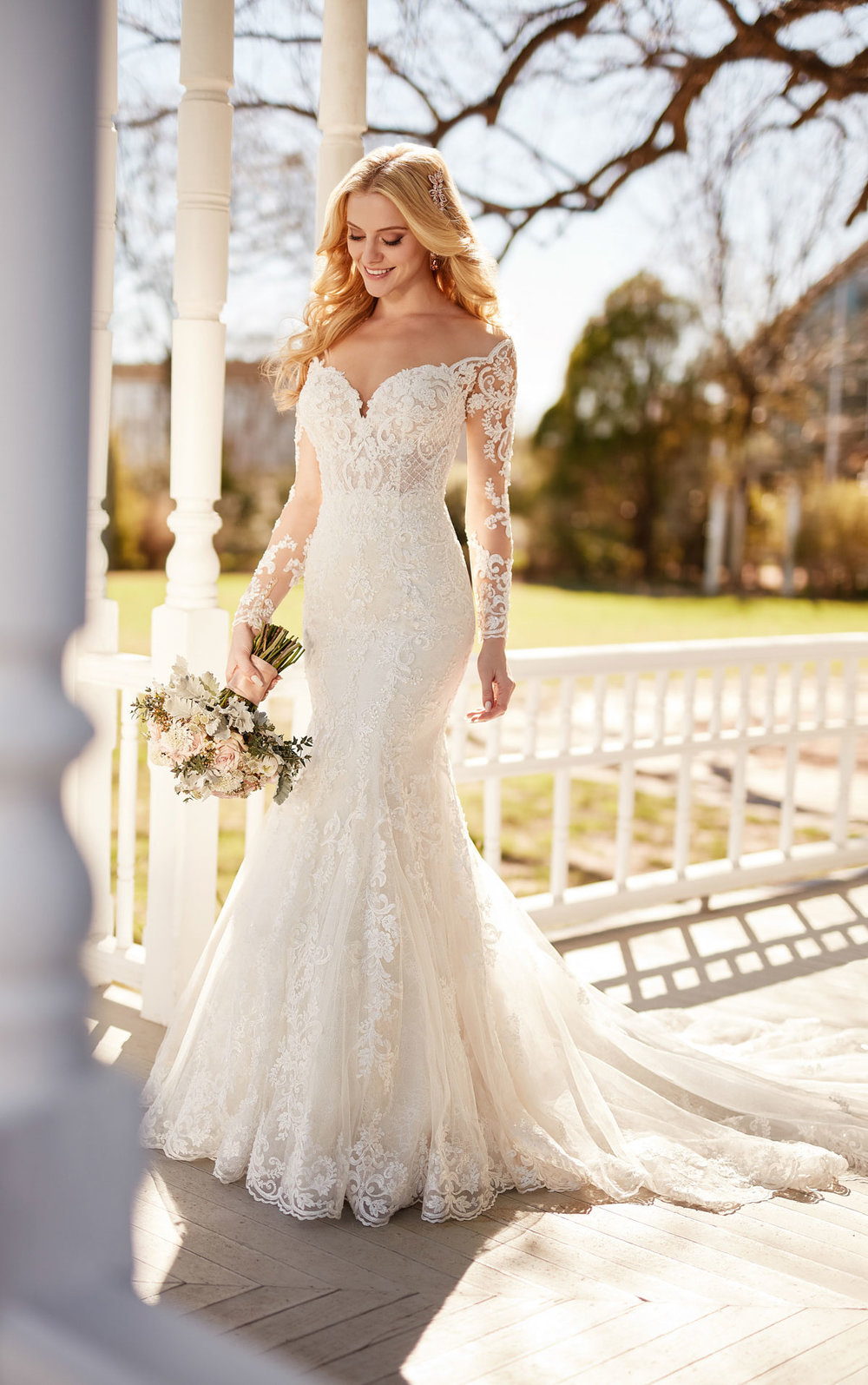 Illusion lace long sleeved wedding gown