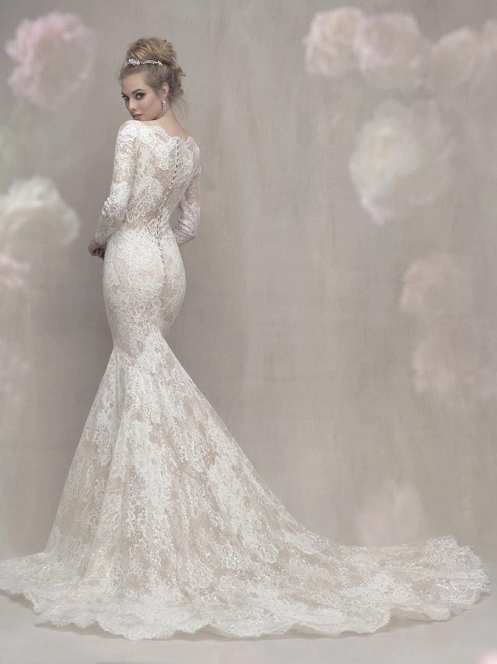Long Sleeve Lace gown with sequins