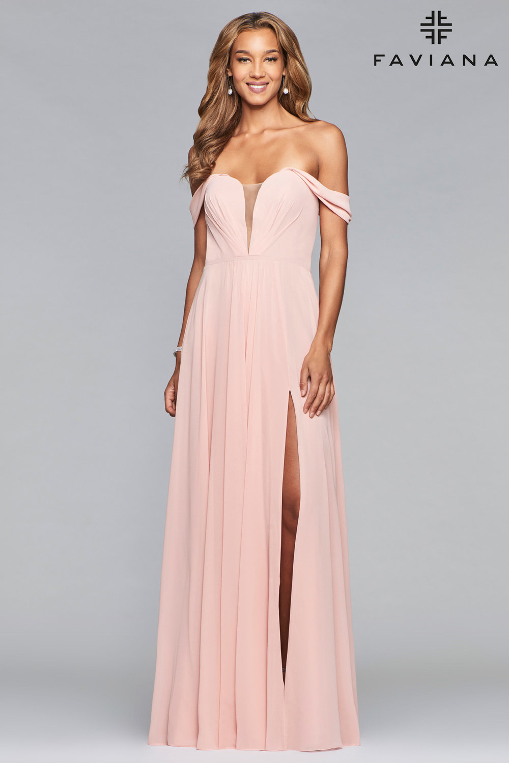 Off the Shoulder Chiffon with Slit