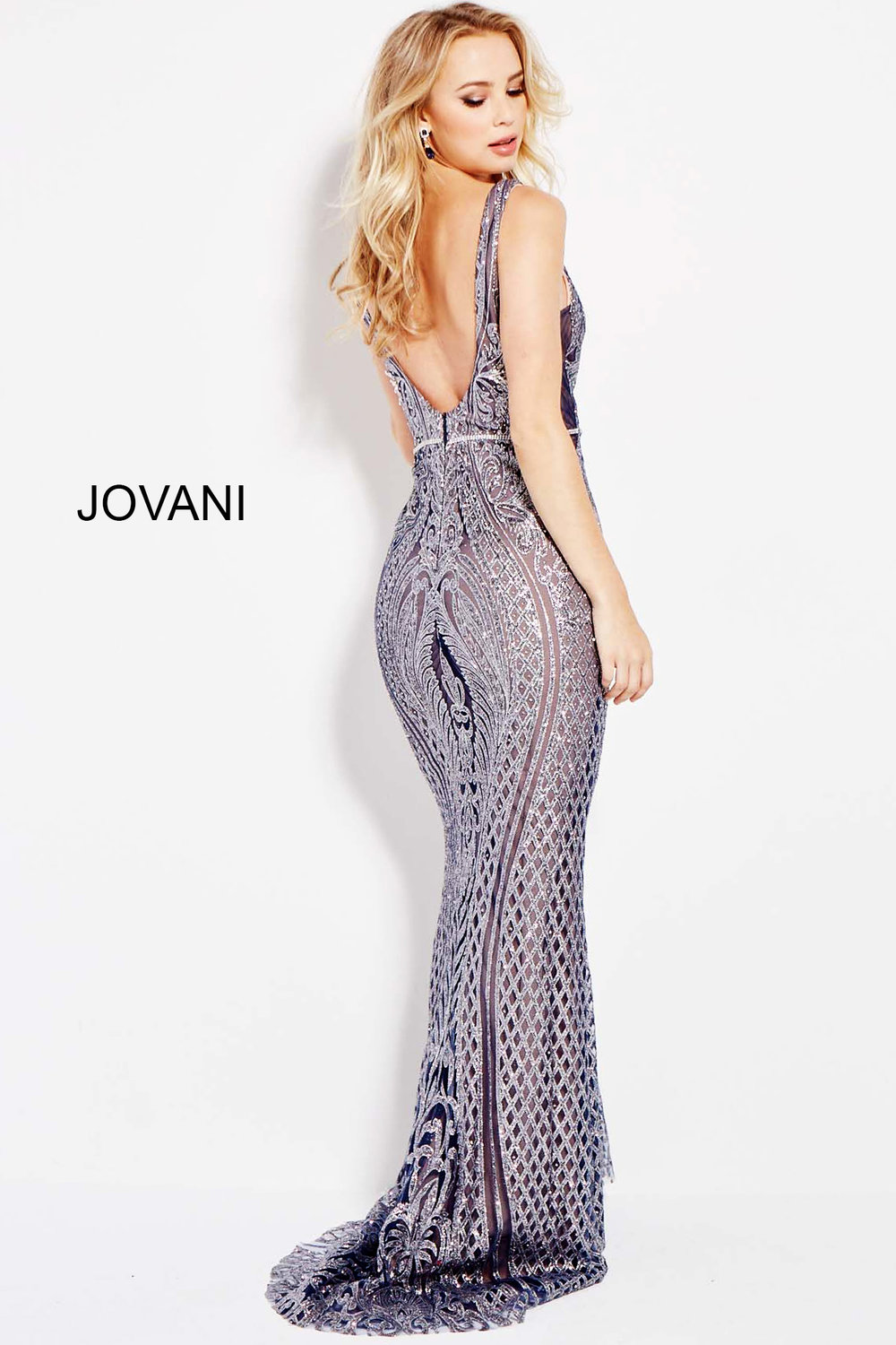 Low Back Fitted Lace Jeweled Dress