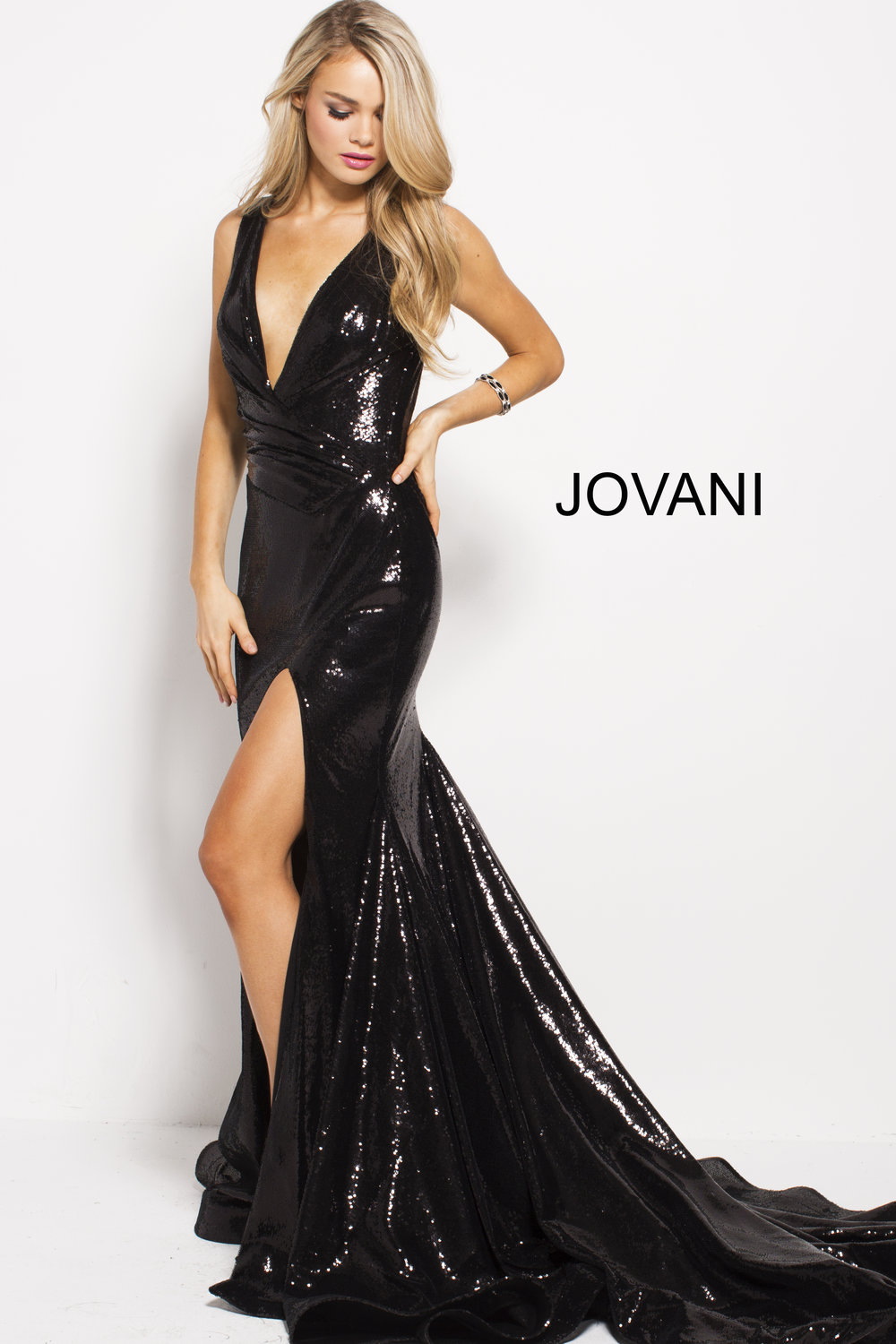 Plunging Neck Sequin Gown with Train