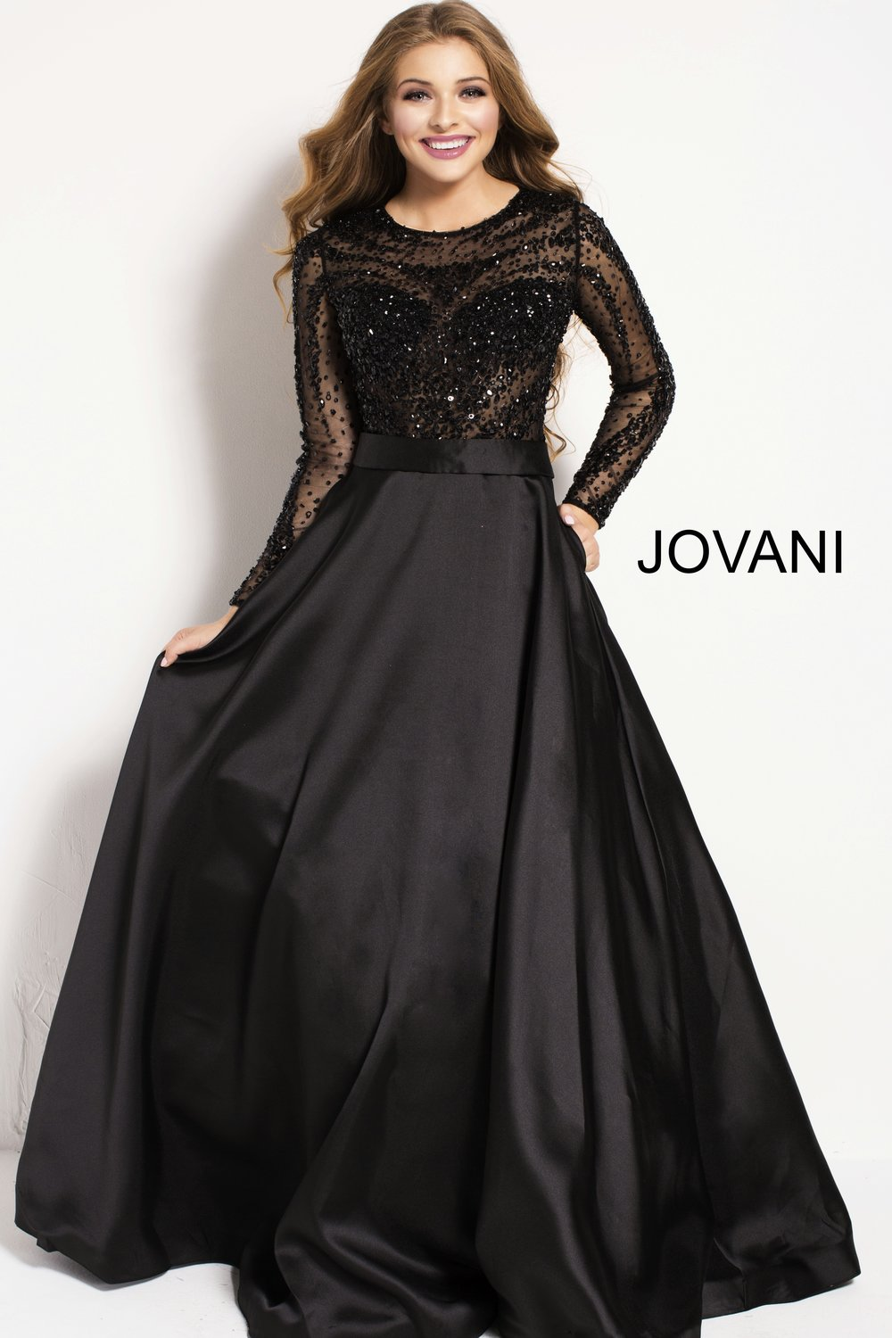 Long Sleeve Ball Gown
