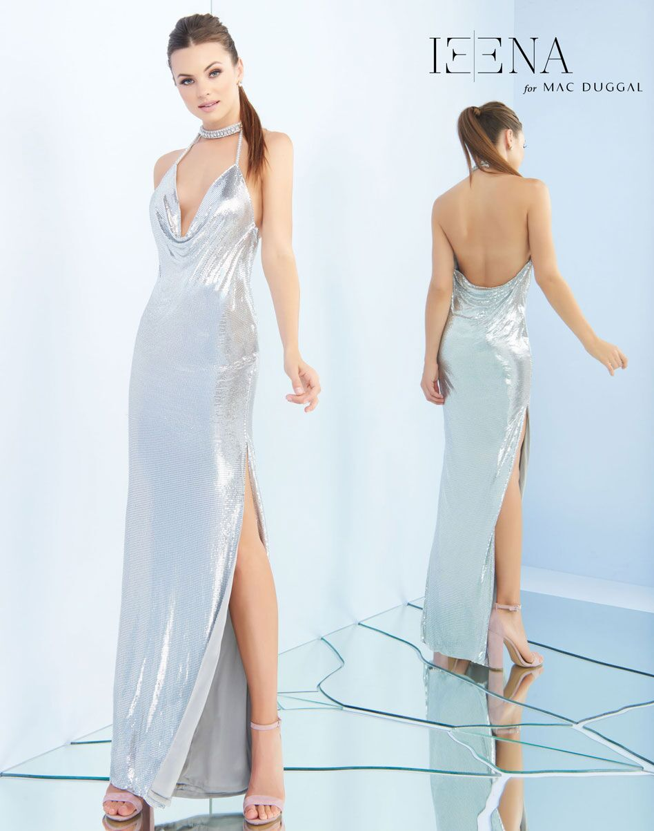 Open Back Plunging Neck Sequin