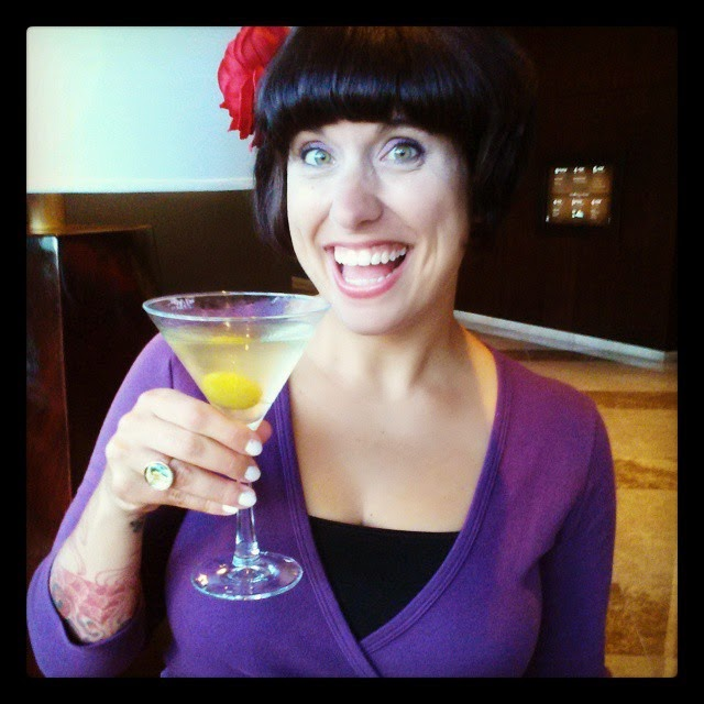 Me with one of my favorite libations - a dirty martini!