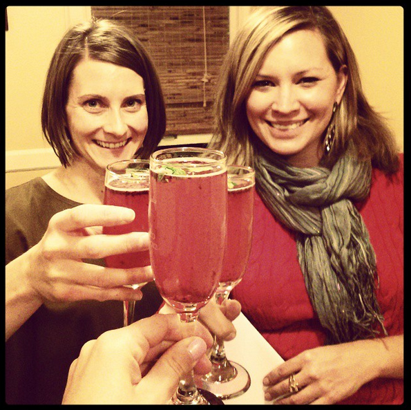 Toasting a non-alcoholic glass of yumminess with friends!