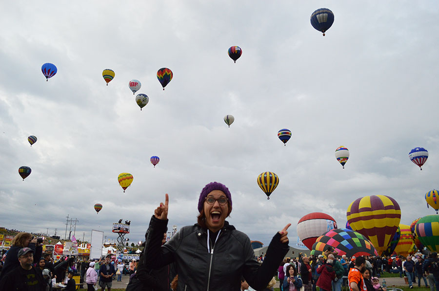 Me at the Hot Air Balloon Fiesta! The excitement is real, folks!!