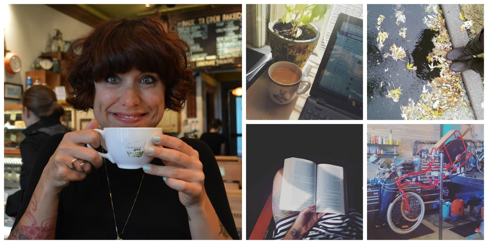 Clockwise: Enjoying coffee in Portland, working from home, enjoying the change in weather, gearing up my bike for winter riding, and finishing a Book Club book.