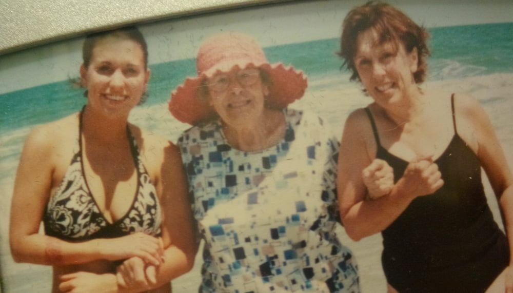 Not the best photo, but one of my favorite memories. We took her to Pawley's Island in South Carolina! Me, grandma, and my mom.
