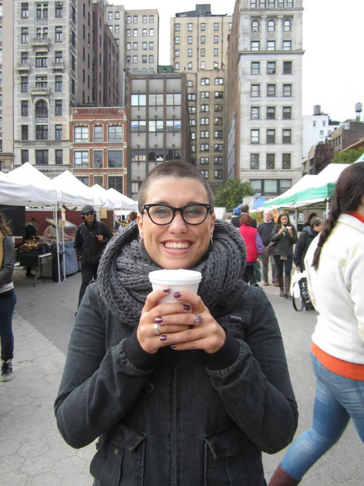 In New York City, a few months after the head-shaving. The hair was growing back!