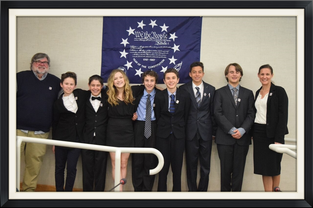 Colina's We the People Honor's Team 2016 From left:  Kris Olson, Micah Meyers, Jeremy Garelik, Rilee Roberts, Max Keller, Sam Ratcliffe, Jeffrey Mendoza, Colin Smith, and Tracy Boccalatte