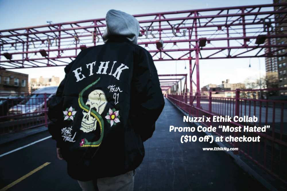 "Super stoked on my second collaboration with EthikNy!  Make sure you go to ethikny.com and check out my ""Most Hated"" bomber and hoodie!"