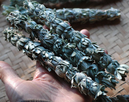 Black Sage bundles tied with agave fiber.