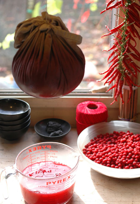 jelly making and madrone berries for stringing