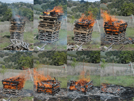 Top down pallet pile.  Notice how little smoke there is.