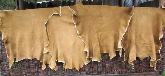 buckskins on woven wall